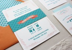 Teal and orange wedding invitation - www.etsy.com:shop:papela