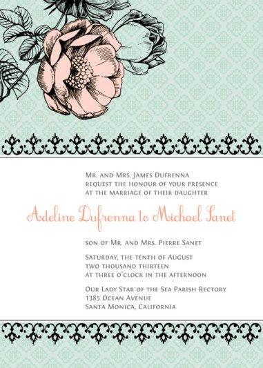 Vintage-style mint wedding invitation - www.etsy.com/shop/paperimpressions