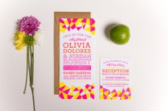 White and neon pink and yellow wedding invitation - www.etsy.com/shop/Sparkvites