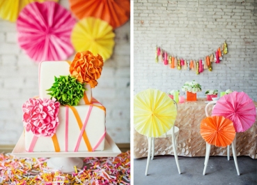 White and neon wedding inspiration {via invitationcelebration.com}