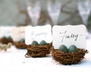Birds nest placecard holders - www.etsy.com/shop/FairyfolkWeddings