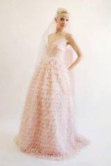 Blush ruffled wedding dress - www.etsy.com/shop/PantoraBridal