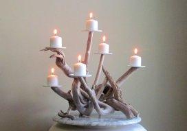 Driftwood candelabra - www.etsy.com/shop/DriftingConcepts