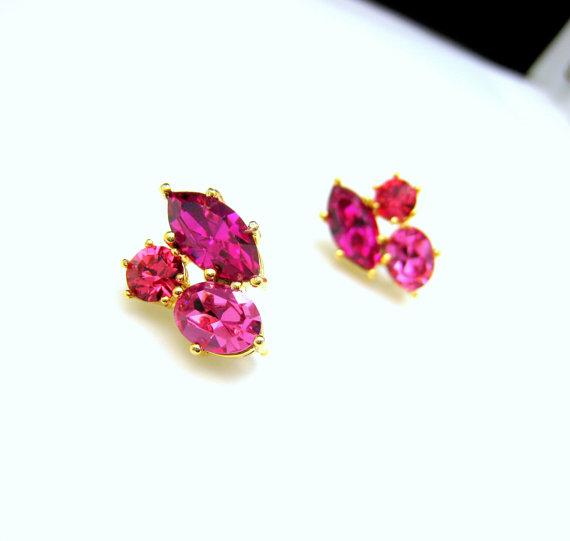fuchsia and gold earrings www etsy shop designbykara
