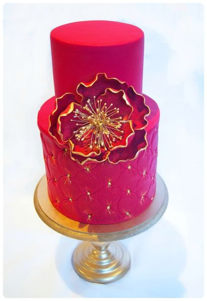 Fuchsia and gold wedding cake inspiration {via pinterest}