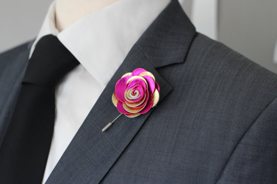 Leather fuchsia and gold boutonniere - www.etsy.com/shop/NevesticaLeather