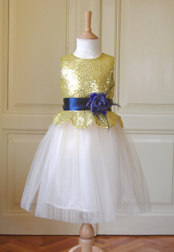Navy and gold flower girl dress – www.etsy.com/shop ...