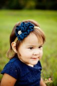 Navy and gold flower girl headband - www.etsy.com/shop/TheRogueBaby