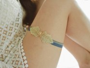 Navy and gold garter - www.etsy.com/shop/woomeepyo