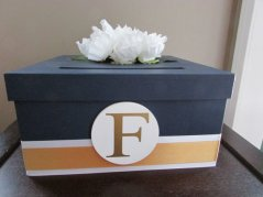 Navy and gold wedding card box - www.etsy.com/shop/AnArtsyAffair