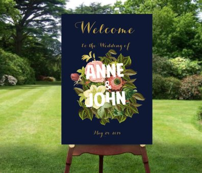 Navy and gold 'welcome' sign - www.etsy.com/shop/WisemonkeyPaperie