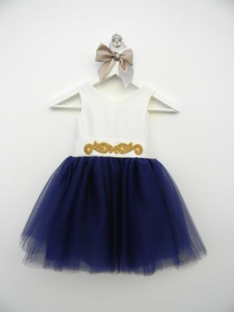 Navy, gold and white flower girl dress - www.etsy.com/shop/MiaLorenBoutique