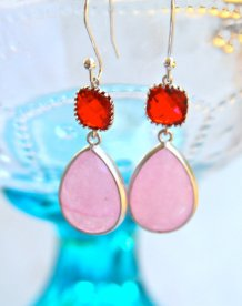 Pink and red earrings - www.etsy.com/shop/heathernn1