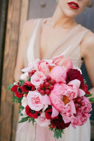 Pink and red wedding bouquet {via bridesofadelaide.com.au}