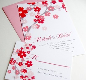 Pink and red wedding invitation - www.etsy.com/shop/tuccipaperco