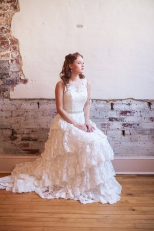 Tiered lace wedding dress - www.etsy.com/shop/thepeppermintpretty