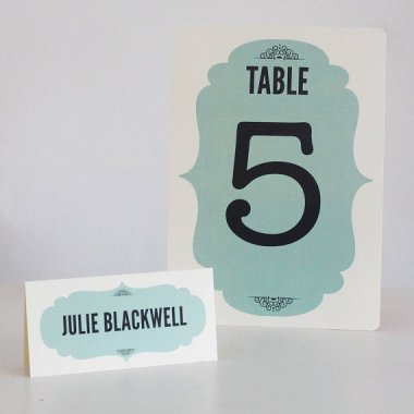 Vintage-style table numbers and placecards - www.etsy.com/shop/LouBrownDesigns