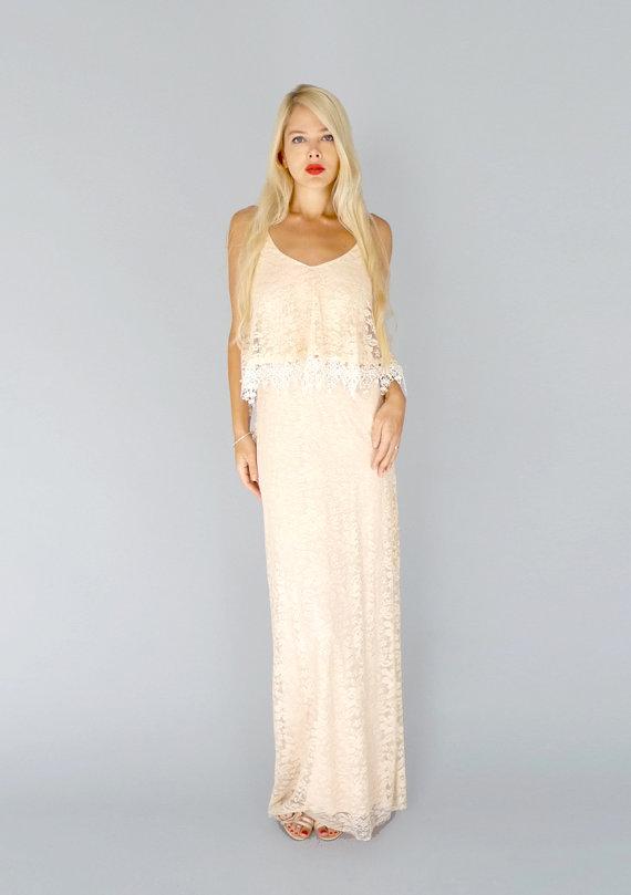 Blush boho wedding dress us 498 for Best etsy wedding dress shops