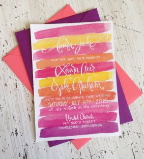 Bright wedding invitation - www.etsy.com/shop/GreySnailPress