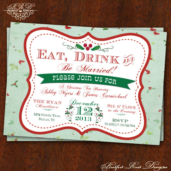 Christmas themed engagement party invitation for Etsy engagement party invites