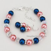 Coral and navy bracelet and earrings set - www.etsy.com/shop/DaisyBeadzJoaillerie