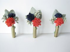 Coral and navy bullet-casing boutonniere - www.etsy.com/shop/TheBackyardGardener