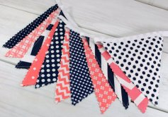 Coral and navy bunting - www.etsy.com/shop/thespottedbarn