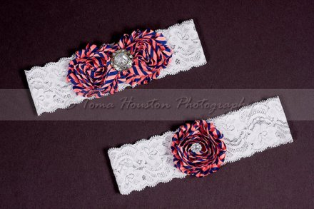 Coral and navy garters - www.etsy.com/shop/Tomastutusandthings