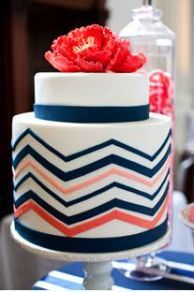 Coral and navy wedding cake inspiration {image via pinterest}