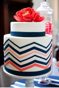 Coral and navy wedding cake inspiration {image via pinterest}