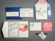 Coral and navy wedding invitation - www.etsy.com/shop/JulieHananDesign