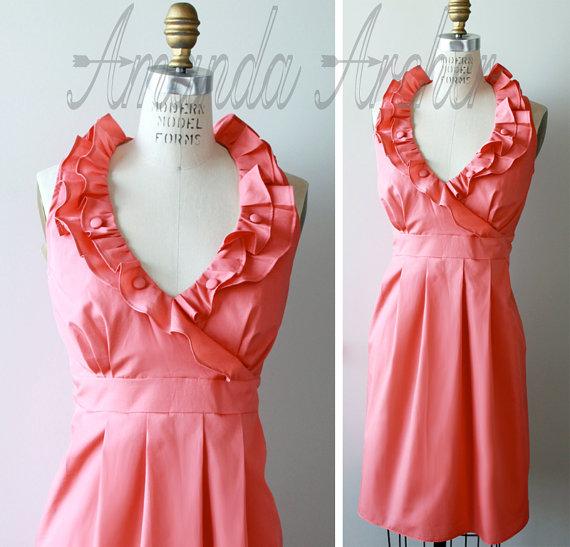 Coral bridesmaid dress – www.etsy.com/shop/AmandaArcher ...