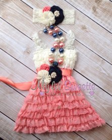 Coral, navy and ivory flower girl dress - www.etsy.com/shop/MyLilSweetieBoutique