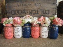 Distressed coral and navy mason jars - www.etsy.com/shop/TheShabbyChicWedding