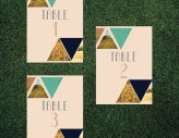 Geometric table numbers - www.etsy.com/shop/blacklabstudio