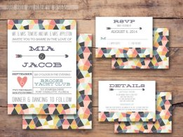 Geometric wedding invitation - www.etsy.com/shop/BabyBrideandBungalow