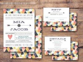 Geometric wedding invitation - www.etsy.com/shop/BabyBrideandBungalow