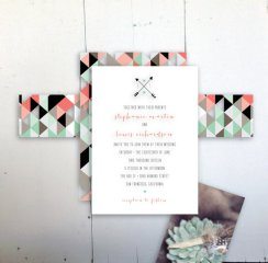 Geometric wedding invitation - www.etsy.com/shop/JPressDesigns