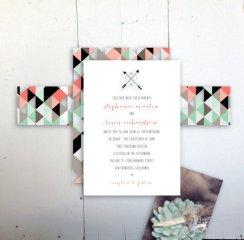 Geometric wedding invitation - www.etsy.com/shop/JPressDesigns