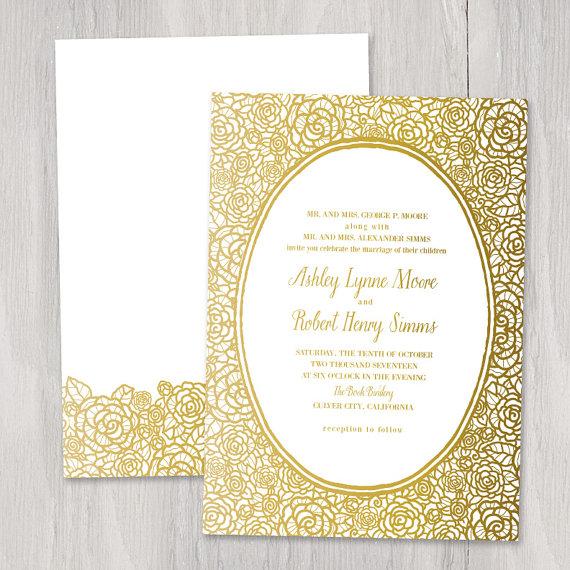 gold foil wedding invitation wwwetsycom shop With etsy wedding invitations gold foil