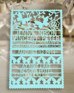 Laser-cut wedding invitation - www.etsy.com/shop/WeddingFavorStore