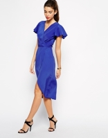 Love wrap-front midi dress with tulip hem, from asos.com