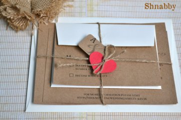 Natural and red heart wedding invitation - www.etsy.com/shop/Shnabby