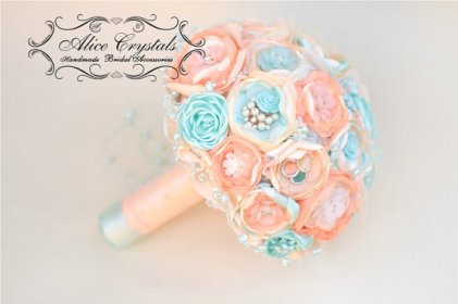 Peach and light blue brooch bouquet - www.etsy.com/shop/AliceCrystals