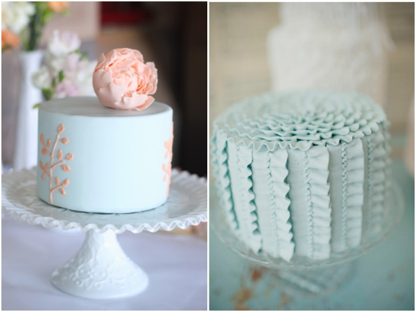 peach and light blue wedding cake and light blue cake ideas via cakechooser 18131