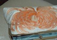 Peach and light blue clutch purse - www.etsy.com/shop/Paulownias