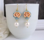 Peach and light blue earrings - www.etsy.com/shop/AnnMichy