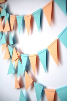 Peach and light blue flag garland - www.etsy.com/shop/Needlejob