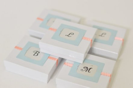 Peach and light blue wedding favour boxes - www.etsy.com/shop/StephanieMartinCo