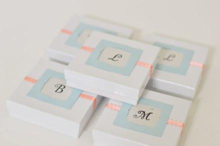 Peach and light blue wedding favour boxes - www.etsy.com/shop/StephanieMartinCo